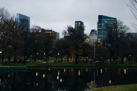 The Boston Common Park, it is the oldest city park in the United States. Boston, Massachusetts, USA. Banco de Imagens - 151608267