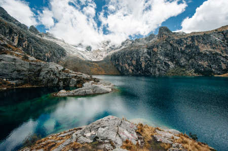 Nev Churup Summit and Laguna, Huascaran National Park in the Andes, South America.
