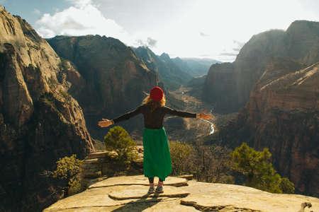 girl traveller on Zion National Park in southwestern Utah near the town of Springdale, USA Banco de Imagens - 151609075