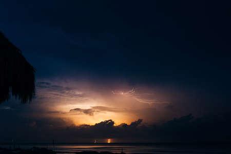 lightning on the caribbean coastin mexico, island holbox Standard-Bild