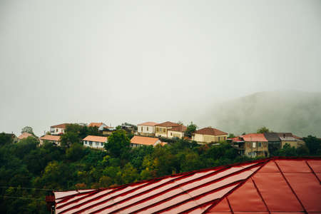 The view on Signagi and Alazani valley, Georgia. Imagens