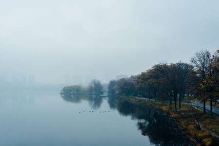 view of the boton in the fog. 写真素材