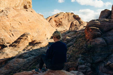 girl in a tracksuit in Valley of Fire State Park, Nevada United States.
