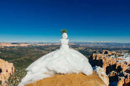 snowman in Superb view of Inspiration Point of Bryce Canyon National Park at Utah.