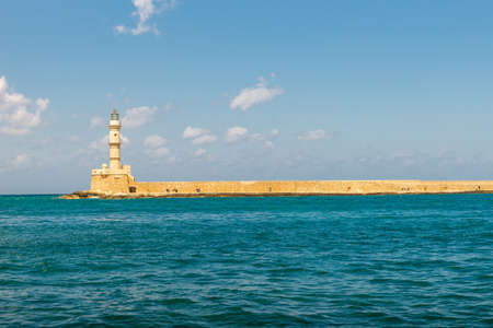Venetian harbour and lighthouse in old harbour of Chania, Crete, Greece - sep, 2019.