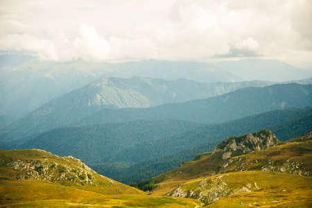 Mountains of Republic of Adygea, Russia. Yavorova Polyana. Walking route and beauty of Adygea. Caucasian mountains. The Caucasian reserve. Caucasian ridge. Mountain Lake. Lagonaki Stok Fotoğraf - 150946182