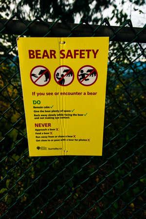 vancouver, canada - november, 2019 bear warning sign.
