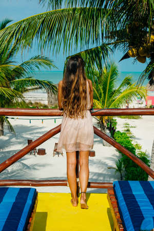 beautiful girl stands with her back on the beach in mexico