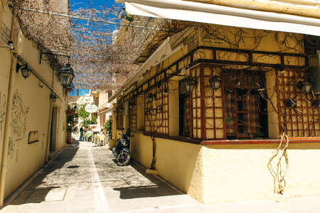Traditional coastal village of Panormo, Rethimno, Crete, Greece - sep, 2019.