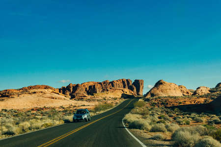 Panoramic view of Fire Canyon Silica Dome in Valley of Fire State Park, Nevada United States
