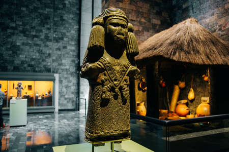 MEXICO CITY - JULY, 2019 Interior of National Museum of Anthropology