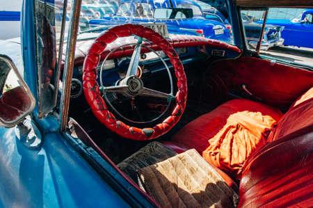 Cuba, Havana - april, 2017 Retro car as taxi for tourists. Editorial