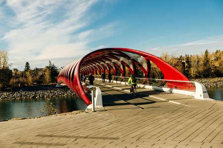 Peace Bridge in Calgary Alberta, Canada - sep, 2019 Editorial
