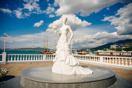 The symbol of the city of Gelendzhik -Girl in a wedding dress. Krasnodar Territory, Russia - july, 2019
