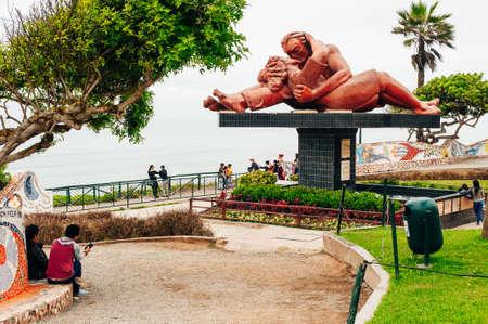 LIMA, PERU - JAN 2020 El Parque del Amor in Miraflores, Lima, Peru. The statue , El Baso The Kiss was created by Victor Delfin