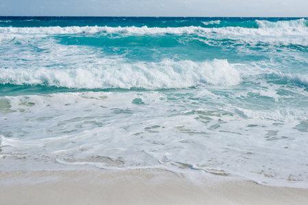 Caribbean tropical turquoise beach Cancun, playa del caren, Mayan Riviera Mexico. Banco de Imagens