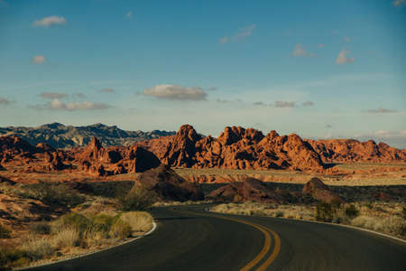 Panoramic view of Fire Canyon Silica Dome in Valley of Fire State Park, Nevada United States. Banco de Imagens