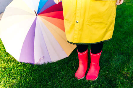 Rainy autumn. Rubber pink boots against. Conceptual image of legs in boots on green grass Banco de Imagens