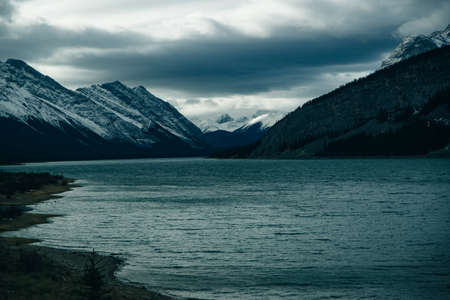 Serene sunrise at the Spray Lakes Reservoir is a reservoir in Alberta, Canada