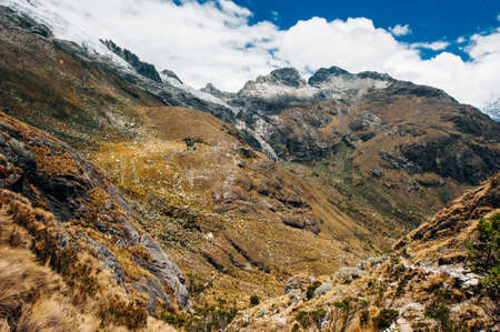 The view from the valley on the hiking path to Laguna 69, Peru Banco de Imagens
