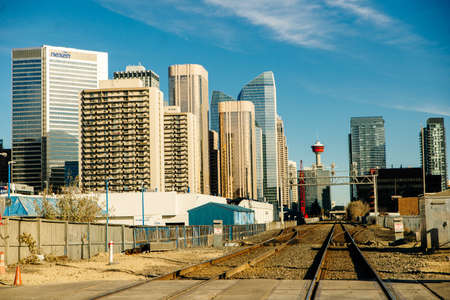 view of Calgary downtown on Centre Street showing tall corporate office skyscrapers. canada - sep 2019 Redakční