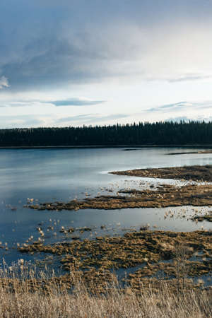 view of the glenmore causeway over the glenmore reservoir. Calgary, Alberta, Canada