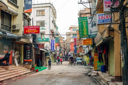Kathmandu, Nepal - July 2019 Street view in Thamel district, known as the centre of the tourist industry in Kathmandu Redakční