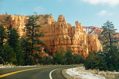 Scenic byway on Highway 14 through Cedar Canyon toward Cedar Breaks and Bryce Canyon National Park.