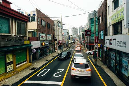 Busan Metropolitan City, Busan, Korea - October 2019 narrow street with mazagins in seoul. Redakční