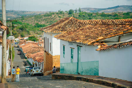 Colonbia - 2019 View of Barichara, Colombia as seen from a hill above town