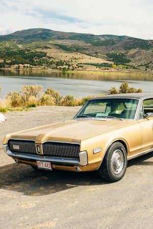 Nevada, USA - September 2019 Cougar mercury old retro car