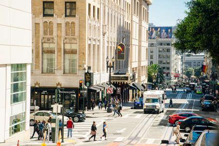San Francisco, CA - JULY 2018 - A typical San Francisco street. people Redakční