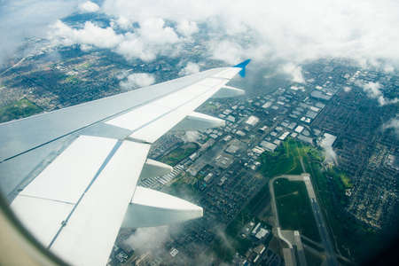 los angeles, september, 2019 Panoramic aerial view of LA, from the inside of a Skyup flight. Redakční