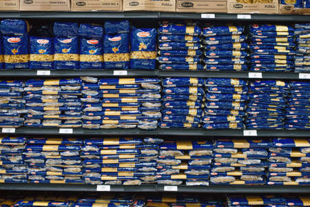 mexico, cancun - december, 2019 : Assorted box packed of Barilla italian pasta for sell in the supermarket shelves Editorial