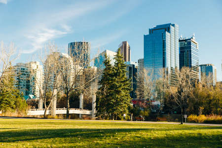 Modern Downtown view taken from near by park. calgary, Canada - october, 2019 Editorial