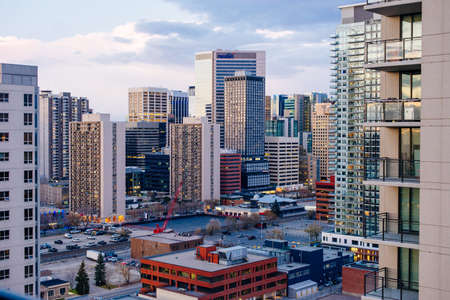 Skyscrapers towering over Calgary Alberta Canada - dec, 2019