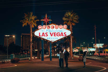 Welcome to Fabulous Las Vegas Sign on black background, USA - December, 2019