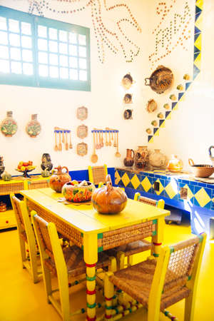 COYOACAN, MEXICO - OCT, 2019 Kitchen in the Blue House Editorial