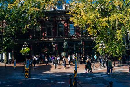 Vancouver Canada - SEP 22019 Statue of Gassy Jack, the man who opened the first saloon in the Gastown district