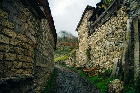 Georgia, Svaneti, Mestia - September 2019 Tourists street in the mountain town of Mestia Stok Fotoğraf