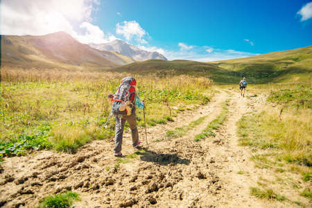 Hikers hiking with a beautiful view of nature Banco de Imagens - 152975615