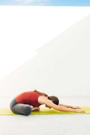 Side view portrait of beautiful young woman doing yoga or pilates exercise. Banco de Imagens