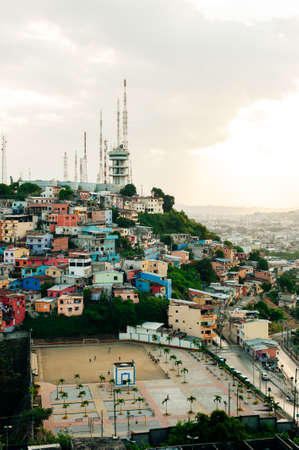 High angle view of small chapel located at the top of Cerro Santa Ana, a touristic attraction of Guayaquil Banco de Imagens