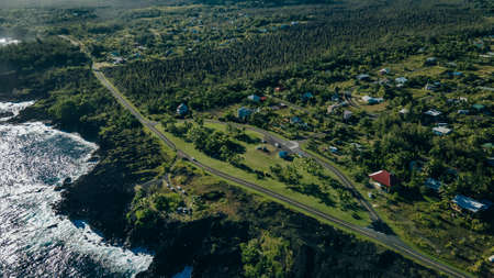 aerial view Kalapana Seaview Estates, big island, hawaii. High quality photo