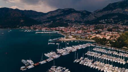 Gocek harbor, bay and city of skyline aerial view. Mediterranean coast, Fethiye TURKEY. High quality photo
