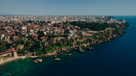 aerial view of Old harbor in Antalya, Turkey. Port in the Kaleici old town. High quality photo