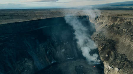 Helicopter over Kilauea Volcano in Hawaii Volcanoes National Park on the Big Island.
