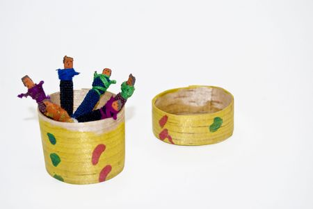 wooden lid: Box of Worry dolls. Handmade craftwork from Guatemala. Stock Photo