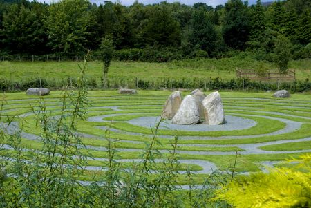 crossroad guide: Panoramic view of a Celtic maze in Wicklow, Ireland.