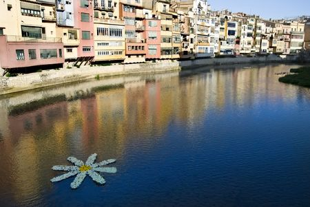 Gironas river. Spring decoration in the city photo